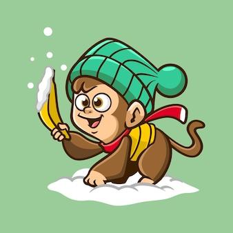Śliczna małpa z ilustracją postaci banana