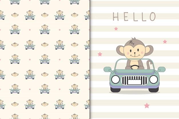 Śliczna małpia ilustracja jedzie bezszwowego wzór i samochód