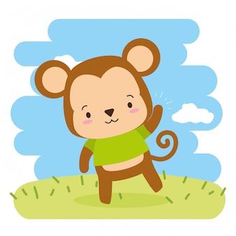 Śliczna małpia kreskówka, ilustracja