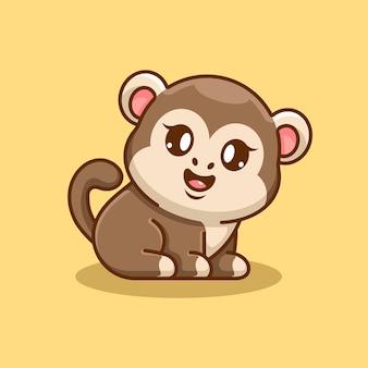 Śliczna małpka siedzi kreskówka