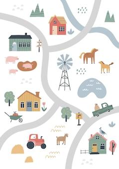 Śliczna mapa wioski z domami i zwierzętami. ręcznie rysowane ilustracji wektorowych gospodarstwa. kreator mapy miasta.