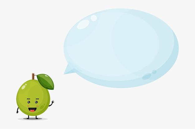 Śliczna maskotka guawa z mową bańki