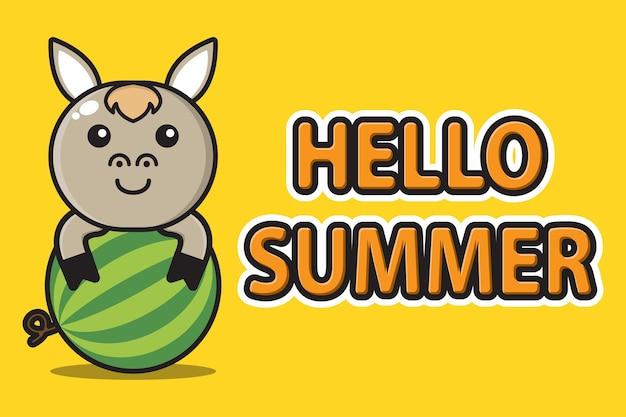 Śliczna maskotka koń przytula arbuza z witaj lato powitalny sztandar