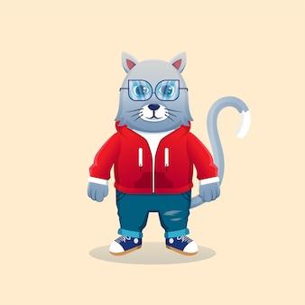 Śliczna maskotka kot kreskówka na sobie kurtkę z kapturem. książka dla dzieci koncepcja dzikiej przyrody