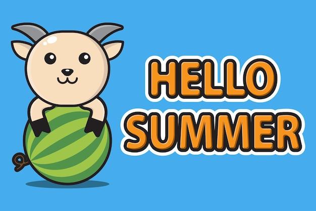 Śliczna maskotka koza przytulająca arbuza z witaj lato powitalny sztandar