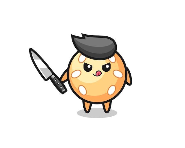 Śliczna maskotka kula sezamowa jako psychopata trzymająca nóż, ładny styl na koszulkę, naklejkę, element logo
