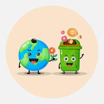 Śliczna maskotka projekt ziemia i kosz na śmieci