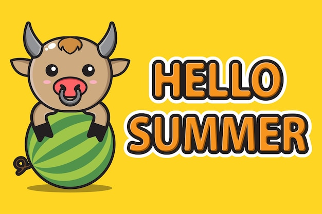 Śliczna maskotka wół przytulająca arbuza z witaj lato powitalny sztandar