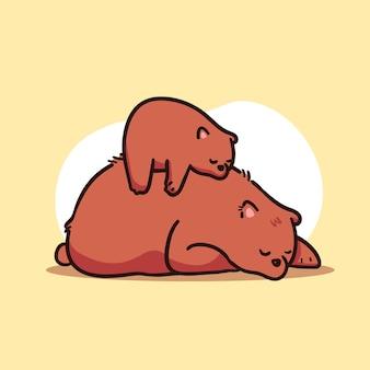 Śliczna matka i dziecko niedźwiedź brunatny śpi ilustracja
