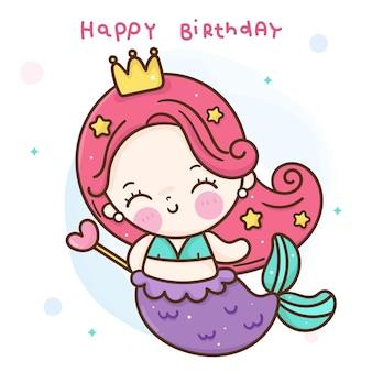 Śliczna memaid mała księżniczka kreskówka trzymająca magiczną różdżkę na bajkową imprezę urodzinową kawaii!