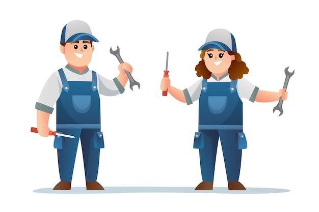 Śliczna męska i żeńska postać technika trzymająca klucz i śrubokręt
