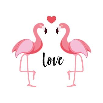 Śliczna miłość flamingów