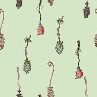 Śliczna miotła doodles bezszwowego wzór dla halloweenowej dekoraci
