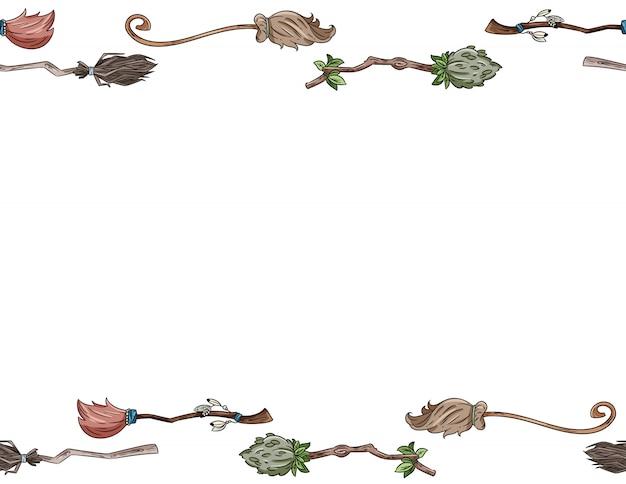 Śliczna miotła doodles wzór listowego formatu