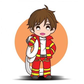 Śliczna młoda chłopiec jest ubranym strażak kreskówkę