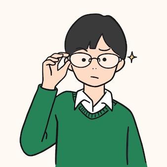 Śliczna młoda chłopiec podnosił szkła up, ręka rysująca stylowa ilustracja.