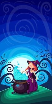 Śliczna młoda czarownica na halloween