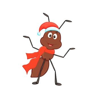 Śliczna mrówka świąteczna. ilustracja kreskówka wektor. eps