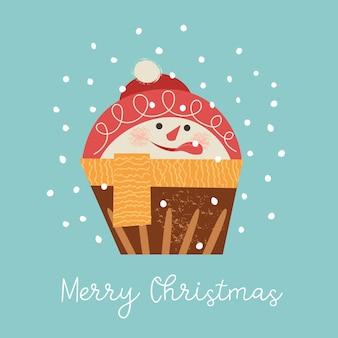 Śliczna muffinka w formie bałwana wesołych świąt i szczęśliwego nowego roku