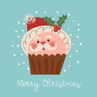 Śliczna muffinka w postaci świętego mikołaja wesołych świąt i szczęśliwego nowego roku