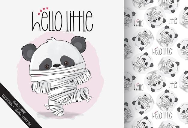 Śliczna mumia mała panda szczęśliwego halloween z bezszwowym wzorem