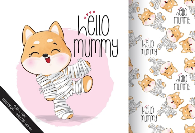 Śliczna mumia małego szczeniaka szczęśliwego halloween z bezszwowym wzorem