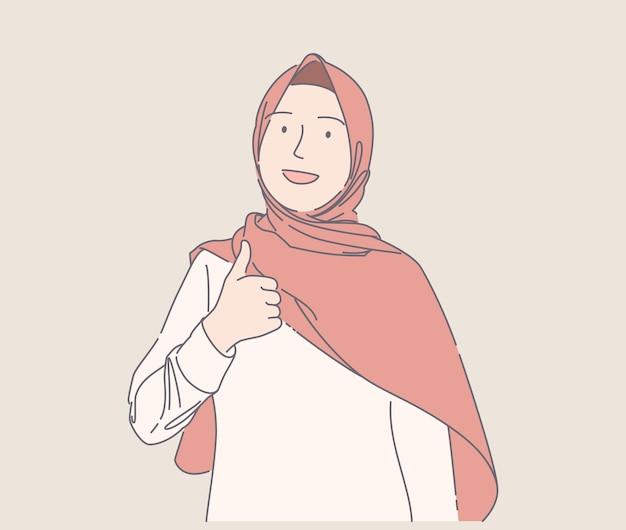 Śliczna muzułmańska dziewczyna daje lubi ręcznie rysowaną ilustrację szczęśliwa młoda muzułmańska kobieta uśmiecha się i daje kciuki do góry