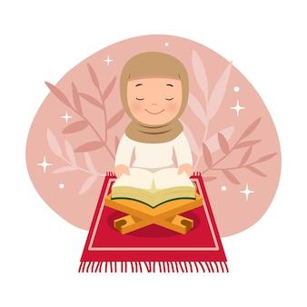 Śliczna muzułmańska dziewczyna z hidżabem czyta koran i modli się. płaska konstrukcja postać z kreskówki.