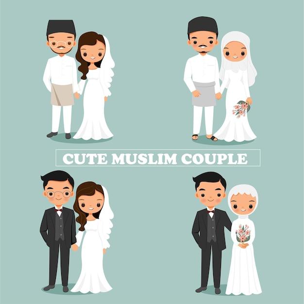 Śliczna Muzułmańska Para W Sukni ślubnej Premium Wektorów