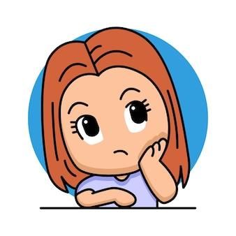 Śliczna myśląca kobieta ilustracja kreskówka