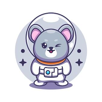 Śliczna mysz astronauta ilustracja kreskówka