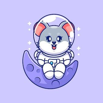 Śliczna mysz astronauta siedząca na księżycu
