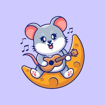 Śliczna mysz grająca na gitarze na księżycu