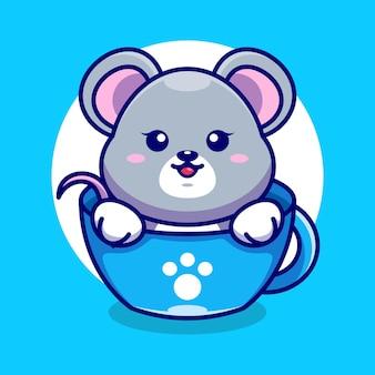 Śliczna mysz na filiżance kawy kreskówka