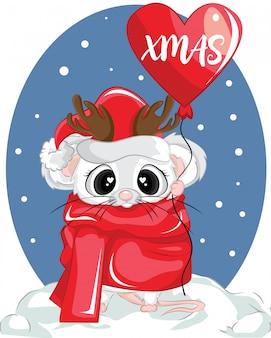 Śliczna mysz nosi zimową czapkę i czerwony szalik