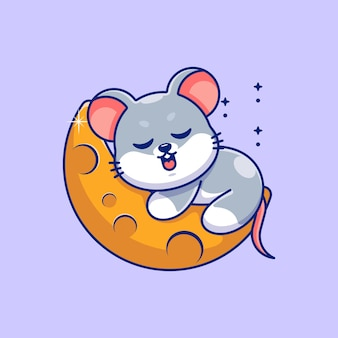 Śliczna mysz śpiąca na kreskówce księżyca