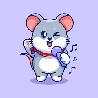 Śliczna mysz śpiewająca w kreskówce