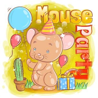 Śliczna mysz świętuje wszystkiego najlepszego z prezentem i balonem