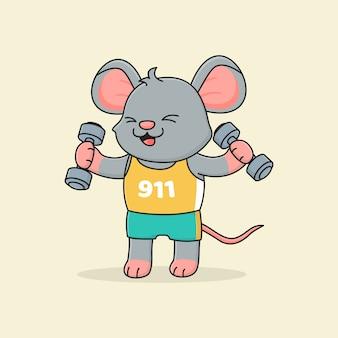 Śliczna mysz trzyma sztangę