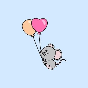 Śliczna Mysz Trzymając Balony Kreskówka Premium Wektorów