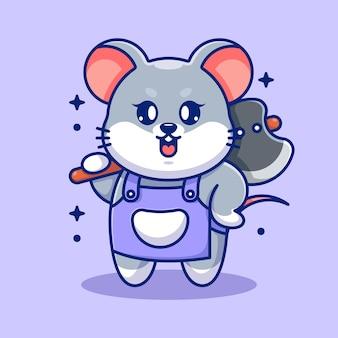 Śliczna Mysz Trzymając Siekierę Kreskówka Premium Wektorów