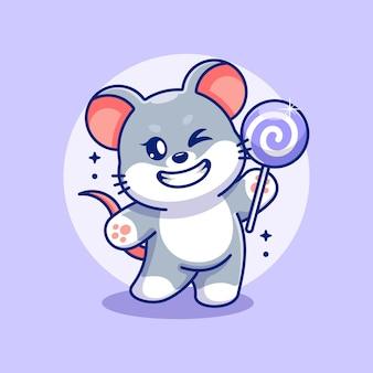 Śliczna mysz trzymająca kreskówkę lizaka