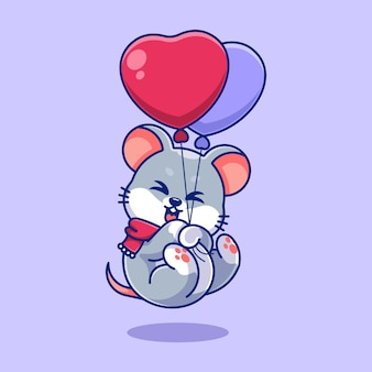 Śliczna mysz unosząca się z balonową kreskówką