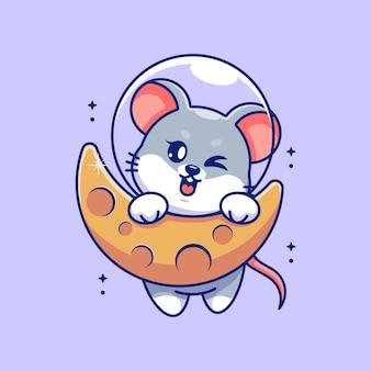 Śliczna mysz wisząca na kreskówce księżyca