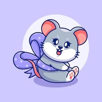 Śliczna mysz z kreskówką wstążkową