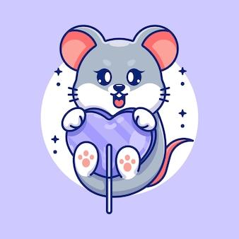 Śliczna mysz z kreskówką z cukierkowego serca