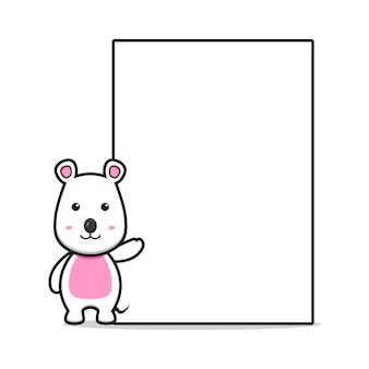 Śliczna mysz z pustą deską kreskówka wektor ikona ilustracja. projekt na białym tle stylu cartoon płaskie.