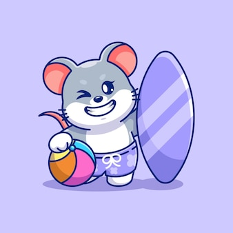 Śliczna myszka letnia ikona ilustracja