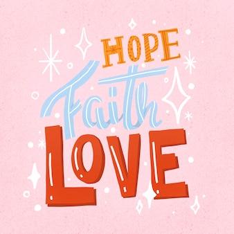 Śliczna naklejka z cytatem, nadzieja, wiara i miłość wektor typografii