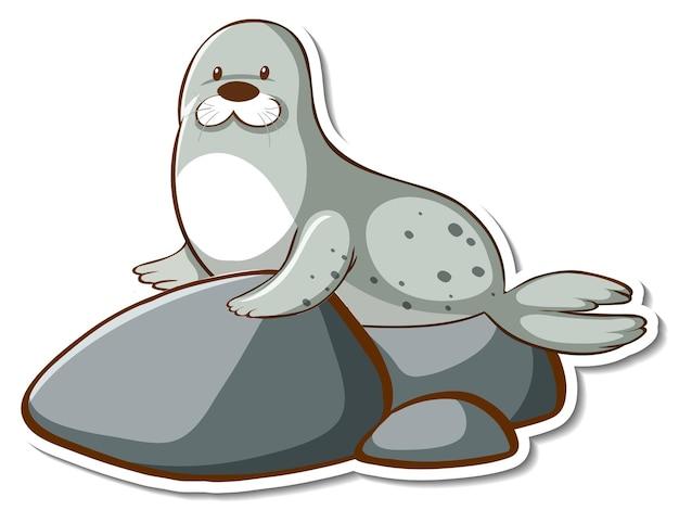 Śliczna naklejka z foką lub lwem morskim